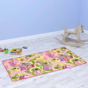 vidaXL Play Mat Loop Pile 100x165 cm Sweet Town Pattern