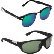 Zyaden Clubmaster, Wrap-around Sunglasses(Multicolor, Green)