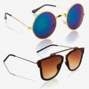 Knotyy Round, Retro Square Sunglasses(Brown, Blue)