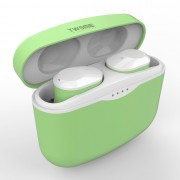 C5 TWS In-ear Touch Control Stereo Music Bluetooth Headphones with Charging Bin - Light Green