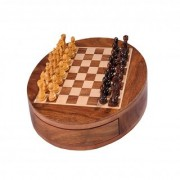 S G 9 Round Wooden Chess Set With Magnetic Pieces And Storage Drawer