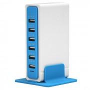 30W 6 puertos del USB 6A 100 ~ 240V enchufe de energia del USB - azul + blanco (enchufes de los EEUU)