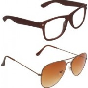 Zyaden Wayfarer, Aviator Sunglasses(Clear, Brown)