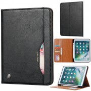 Auto-absorbed PU Leather Wallet Stand Tablet Case with Pen Slot for iPad 10.2 (2019) - Black
