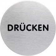 "DURABLE · Hunke und Jochheim GmbH & Co. KG ""DURABLE PICTO Piktogramm """"DRÜCKEN"""", Ø 83 mm, Hinweissymbol aus hochwertigem Edelstahl, 1 Stück"""