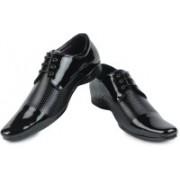 Shoe Island Designer Patent Black Derby Formal Shoes Lace Up For Men(Black)