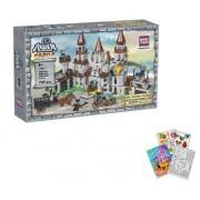 2 Item Bundle: Brictek Giant Fortress Castle Warfare 747 Pcs Building Blocks (Compatible With Legos) Bt 16501 + Coloring Activity Book