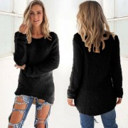 ER Female Sweater Women Candy Color Long Sleeve Round Neck Sweater Ladies Top-black