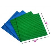 "Lego Compatible Building Baseplate 10"" x 10"" (2 Green+ 2 Blue), Base plates for Ocean and Grass themes"
