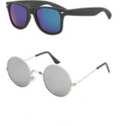 I KING Round, Wayfarer Sunglasses(Blue, Silver)