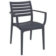 Chaise de terrasse 'ULTIMO' design grise foncée
