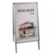 Cornice per poster Bi-Office - 934844 Cornice da terra in alluminio per poster 1000 X 700 mm con 2 scomparti di colore alluminio in confezione da 1 Pz.