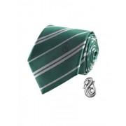 Réplica corbata de lujo con pin Slytherin Harry Potter Única