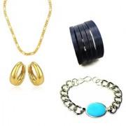 Sachin & Salman Combo Of Golden Chain Firoza Bracelet & Kundal Bali Earring With 1 Black Cutting Cuff Bracelet