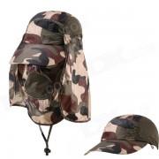 Proteccion al aire libre de proteccion ultravioleta algodon Brimmed Hat w / cuello de proteccion - Camuflaje