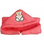 Furn@Home Teddy Design Hooded Fur Light Red Baby Blanket With Zip
