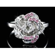 Rózsás Swarovski kristályos gyűrű, ezüst színű-8