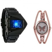 LED Rocket Black Men and Round Dial Butterfly Chain Copar Women Watches Couple for Men and Women