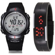 Crude Smart Combo of Digital Watch-rg632 With pu Strap for Boy's Kid's
