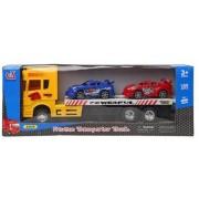 Vrachtwagen Geel met 2 Auto's