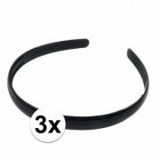Geen 3x Zwarte dames diadeem/haarband