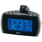AEG MRC 4119 P- Radio despertador con proyector, indicador de temperatura, color negro