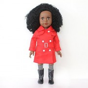 African American 18 inch Girls Doll - Baby Girl Doll Toys-Black Curls Wavy Hair Half Cloth Vinyl Doll with Red Long Coat,Leggings,Boots