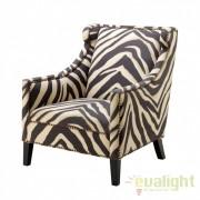 Fotoliu design elegant si confortabil, tesatura cu imprimeu Zebra 108959U HZ