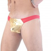 Don Moris Metallic Pouch Sheer Thong Underwear Red/Gold DM291120
