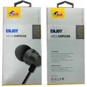 Bell Metal Universal Earphone Super Bass In-line Remote Control Wired Headset 3.5mm with Mic (Grey - 612)