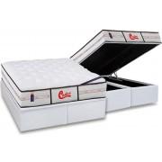 Conjunto Box Baú - Colchão Castor Molas Pocket Gold Star Vitagel Classic Double Face + Cama Box Baú Courino Bianco - Conjunto Box King Size - 193 x 203
