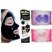 Bamboo Activated Charcoal Anti Blackhead Pore Acne Deep Cleansing Suction Mask And 2 N G FACIAL WIPES (25 PC)