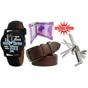 Jack Klein Combo of Trendy Black Dial Strap Strap Watch Brown Leatherite Belt With Swis Knife And 2000 Note Wallet
