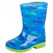 Merkloos Blauwe kinder regenlaarzen met haaien 33 - Regenlaarzen