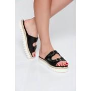 Papuci StarShinerS negri casual din piele naturala cu talpa joasa accesorizati cu catarame