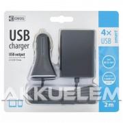 USB autós adapter 2m kábellel 2+2db USB kimenettel