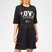 Love Moschino Women's Logo Embossed T-Shirt Dress - Black - IT 42/UK 10 - Black