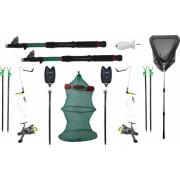 Set complet pescuit format din 2 lansete 2 mulinete 4 suporti 2 forface 2 senzori 2 swinger 1 juvenic 1 minciog 1 racheta momit