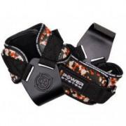 Pereche chingi cu carlig metalic pentru sala de fitness POWER HOOKS PS-3370 marime L portocaliu camuflaj