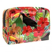 HEOEH Exotic Tropical Bird Toucan Leaves Hibiscus Flowers Plastic Makeup Bag Cosmetic Organizer Women Evening Bag