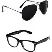 Amour-Propre Aviator, Wayfarer Sunglasses(Black, Clear)
