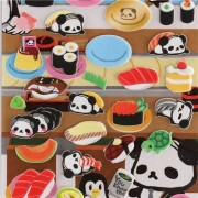 Ojipan panda as food 3D stickers and food dish sticker from Japan