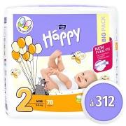 BELLA Baby Happy Mini, 2-es méret (312 db)