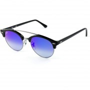Lentes de Sol Ray-Ban ClubRound Double Bridge RB4346 6250/7Q -Negro con Azul Degradado Espejo