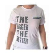Camiseta Baby Look Algodão The Bigger The Better - Branca Tamanho G - Probiótica