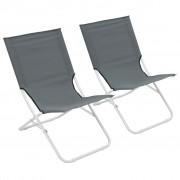 vidaXL Сгъваеми плажни столове, 2 бр, сиви