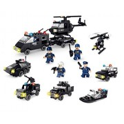 Little Builder Swat Police series 6 in 1 Building Bricks 718 Pieces Playset
