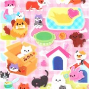 cute cat dog pet glitter puffy and hard sticker 3D sponge stickers from Japan