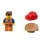 The LEGO Movie - Emmet Minifigure with dual-sided face, red hard hat, and manhole cover from set 70818
