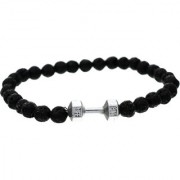 BeBold Silver Dumbbell Black Lava Stone Fashion Bead Matt Bracelet for Men Boys